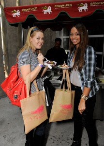 Actresses Aynsley Bubbico and Amber Stevens attend the Kari Feinstein Primetime Emmy Awards style lounge at Zune LA on September 18, 2009 in Los Angeles, California.