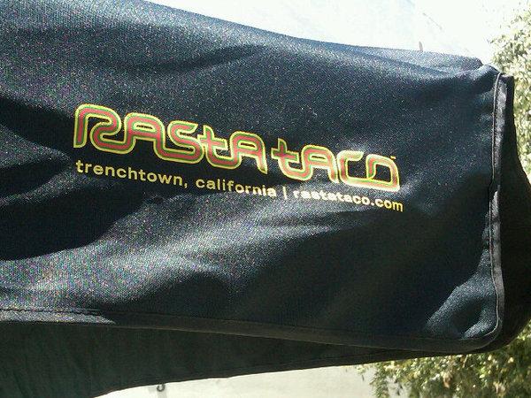 rasta taco, umbrella, raining, southern california