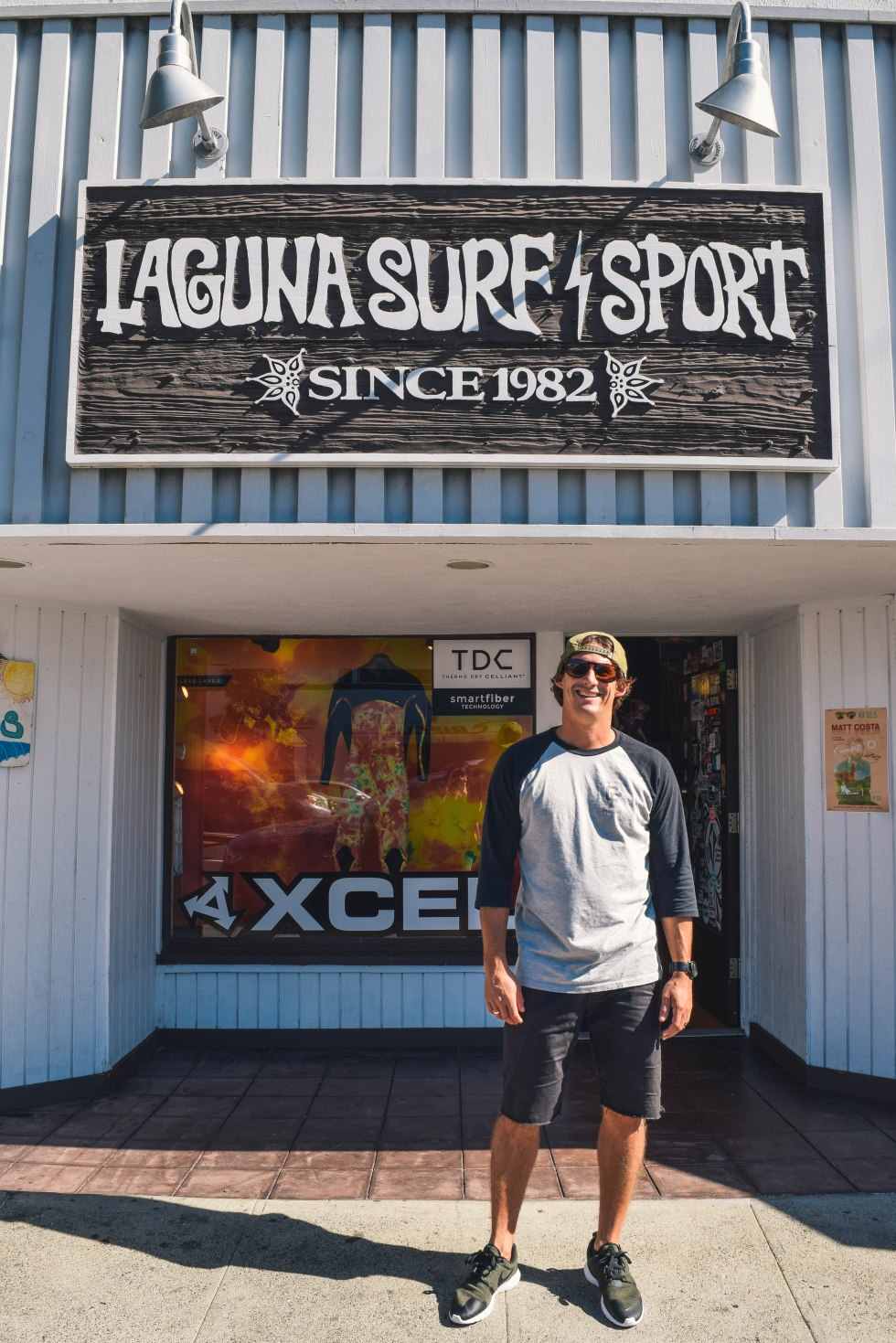 Jason in front of Laguna Surf & Sport in Laguna Beach, Ca